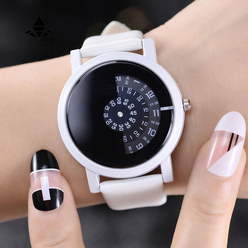 Fashion Sport Women Watches Rotate Indicator No Hand Design Leather Band Quartz Watch