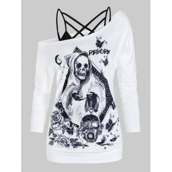 Floral Skull Print Crisscross Exposed Shoulder Twinset T Shirt