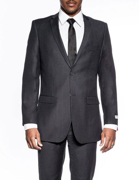 Mens classic charcoal extra slim fit wedding prom skinny suit