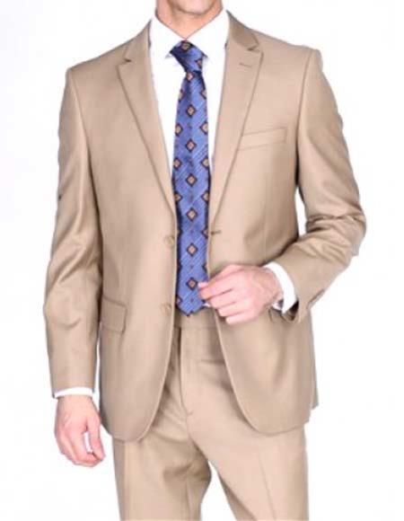 Men's Two Button Notch Lapel Solid 1 Wool Double Vent Camel Suit