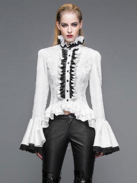 Milanoo Gothic Shirts Women Halloween Costume Bell Sleeve Ruffles Lace Retro Blouses