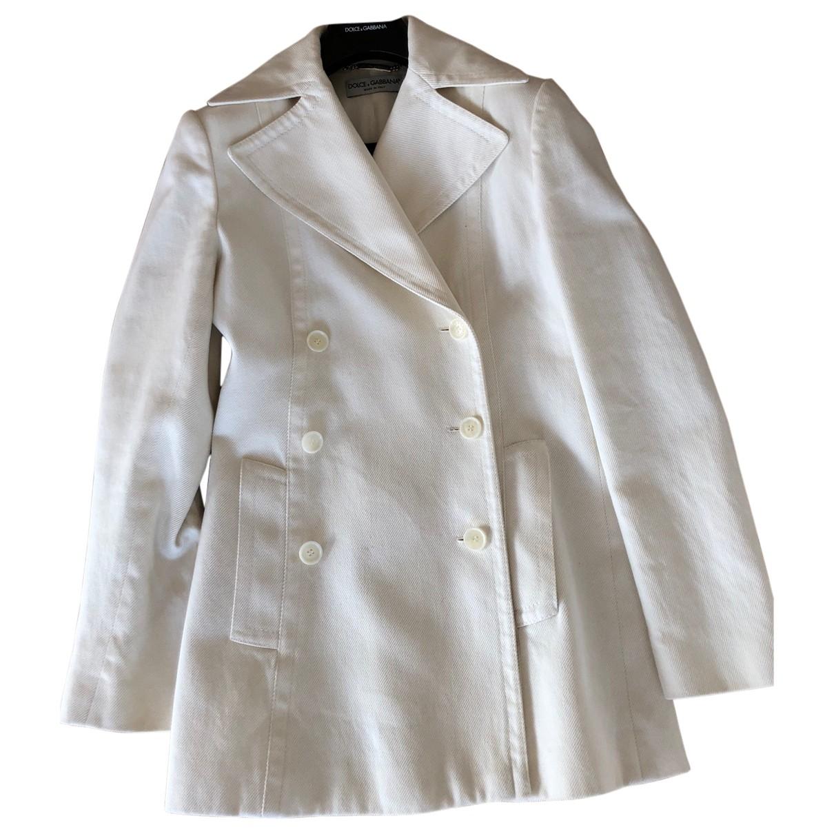 Dolce & Gabbana - Manteau   pour femme en laine - blanc