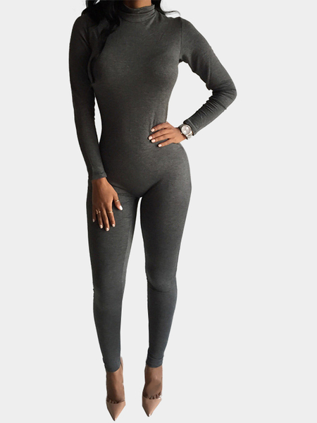Yoins Perkins Collar Bodycon Jumpsuit with Back Zippper Design in Grey