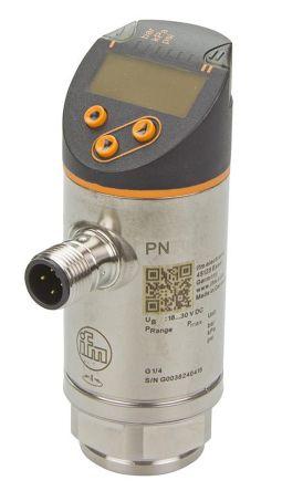 ifm electronic Pressure Sensor for Fluid, Gas , 10bar Max Pressure Reading 2x PNP/NPN-NO/NC