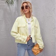 Drop Shoulder Zip Up Drawstring Quilted Jacket