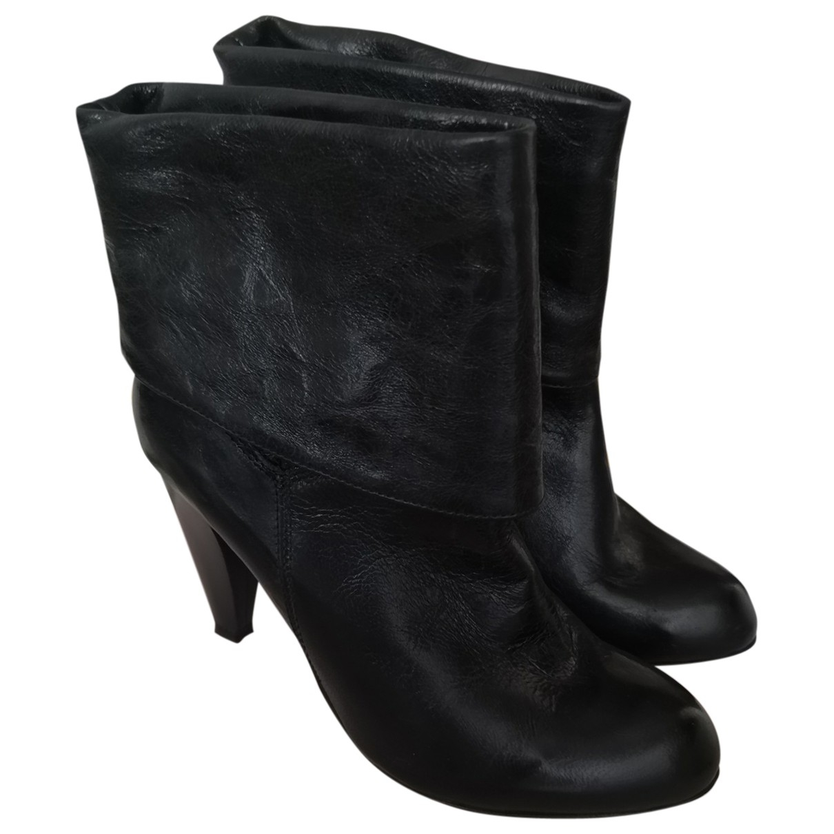 Non Signé / Unsigned \N Black Leather Ankle boots for Women 35 EU