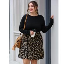 Vestido linea A panel de leopardo en contraste