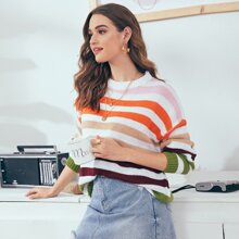 Colorful Striped Drop Shoulder Slouchy Sweater