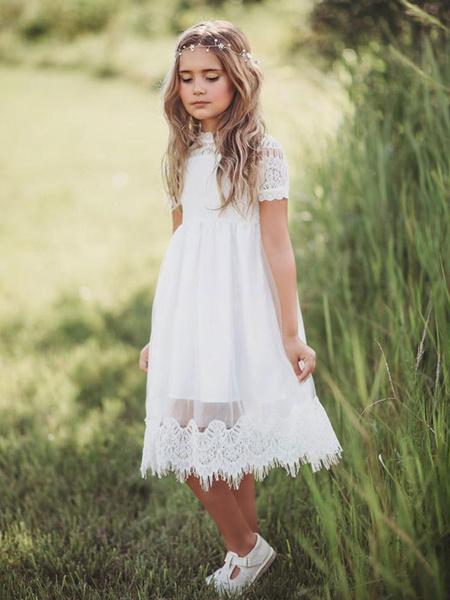 Milanoo Vestidos de niña de las flores Cuello joya de tul Mangas cortas Hasta la rodilla Una linea Vestidos de fiesta para niños