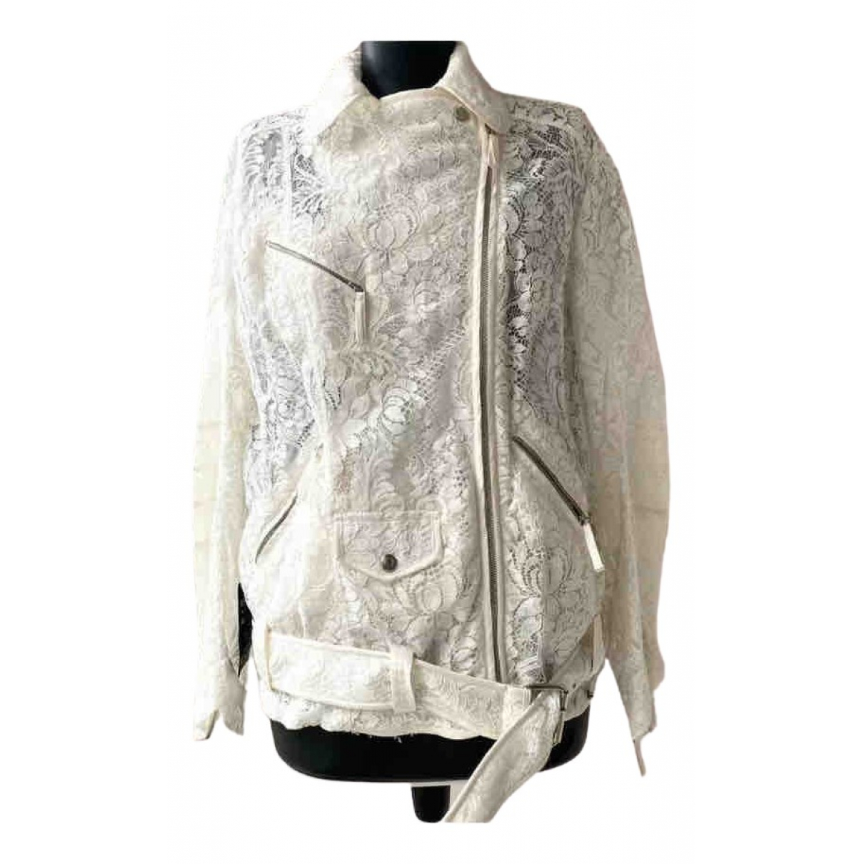 Alessandra Rich \N White Cotton jacket for Women 40 IT