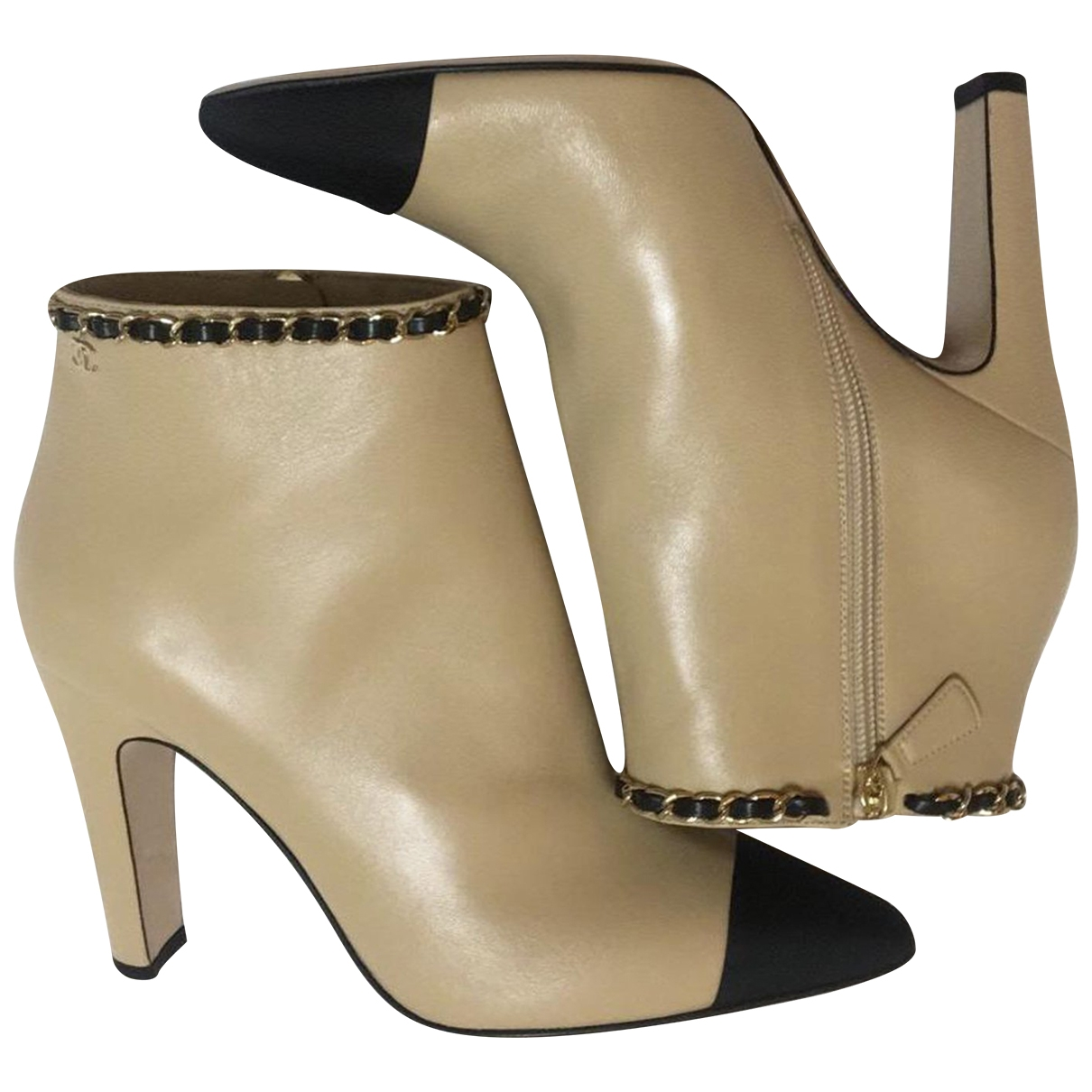 Chanel \N Beige Leather Ankle boots for Women 38 IT