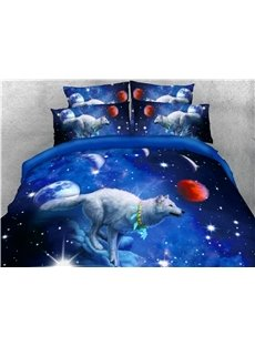 White Wolf and Blue Galaxy Printed 4-Piece 3D Bedding Sets/Duvet Covers
