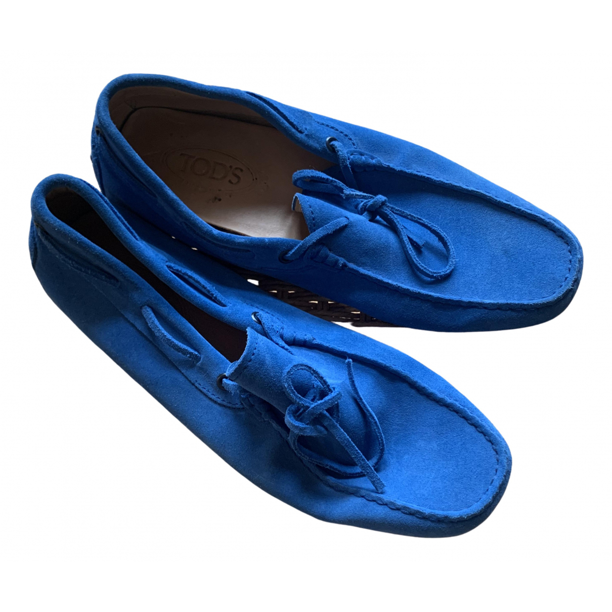 Tod's Gommino Blue Leather Flats for Men 7.5 UK