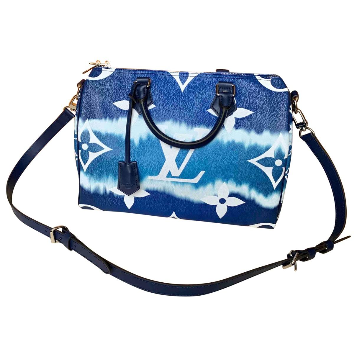 Louis Vuitton Speedy Bandouliere Handtasche in  Blau Baumwolle