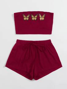 Butterfly Print Tube Top & Track Shorts Set