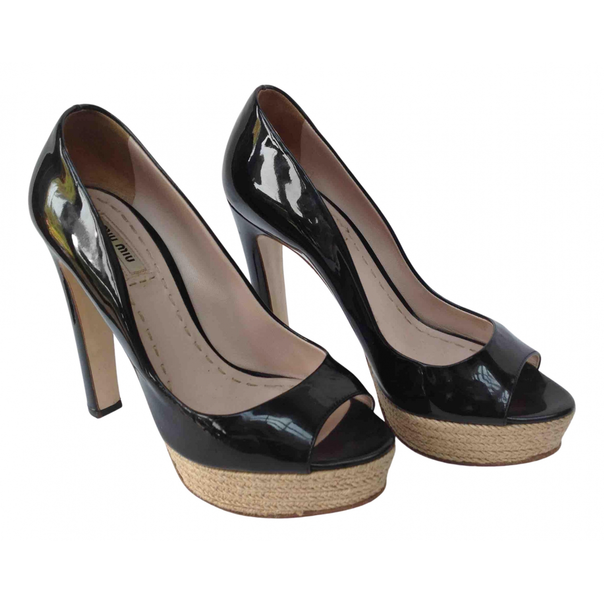 Miu Miu N Black Patent leather Heels for Women 38 EU