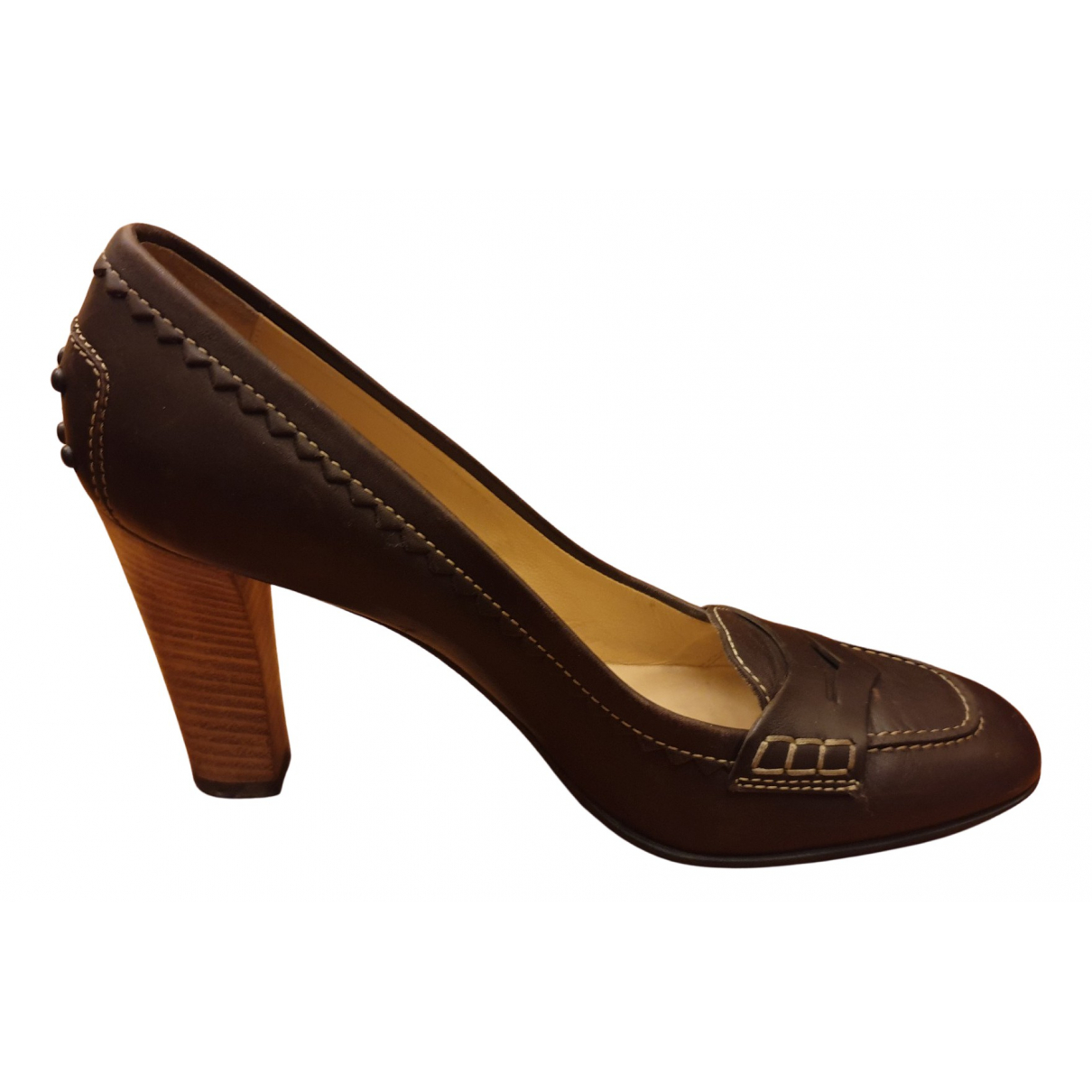 Tod's N Brown Leather Heels for Women 38 EU