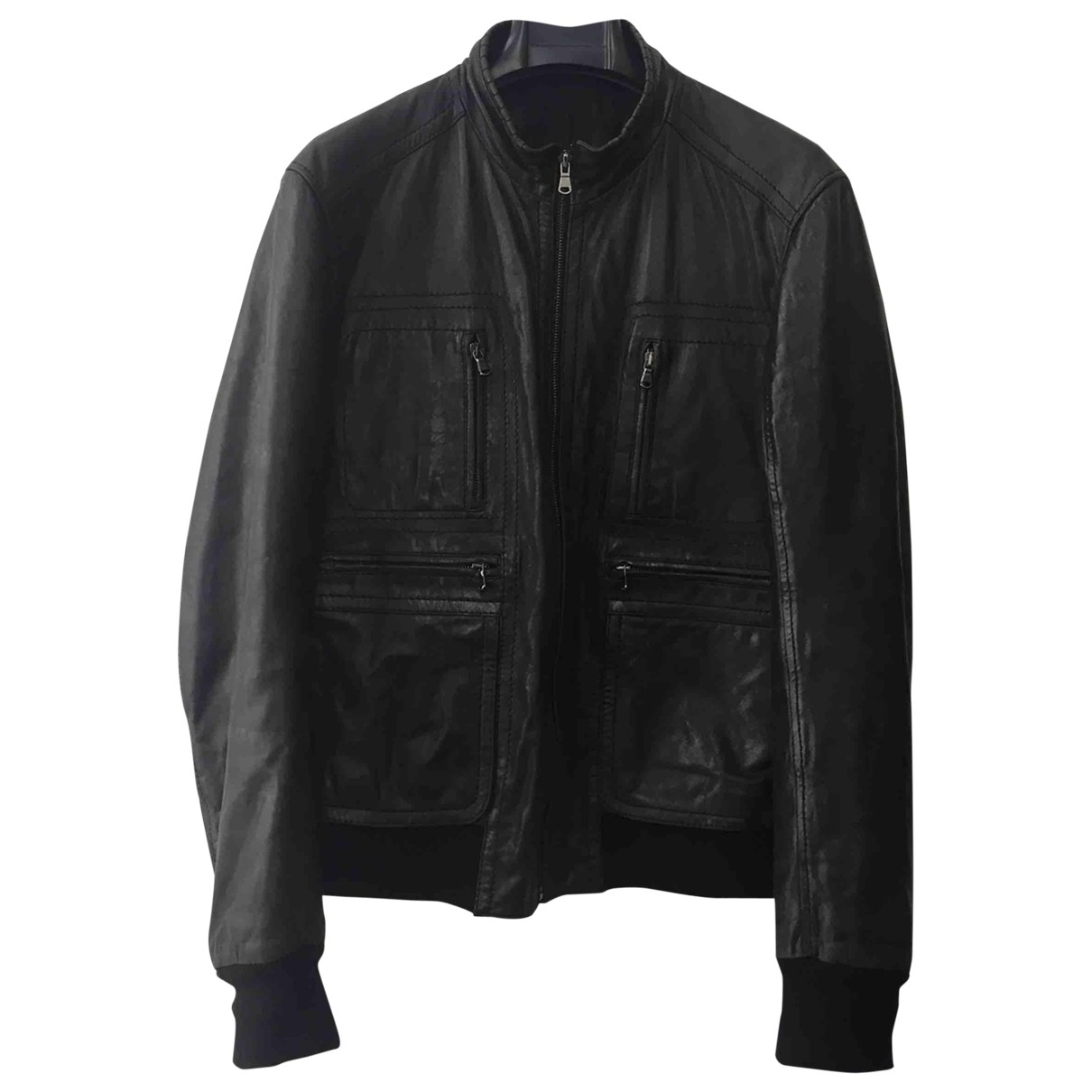 Non Signé / Unsigned \N Black Leather jacket  for Men 50 IT