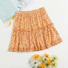 Layered Frill Detail Ditsy Floral Skirt