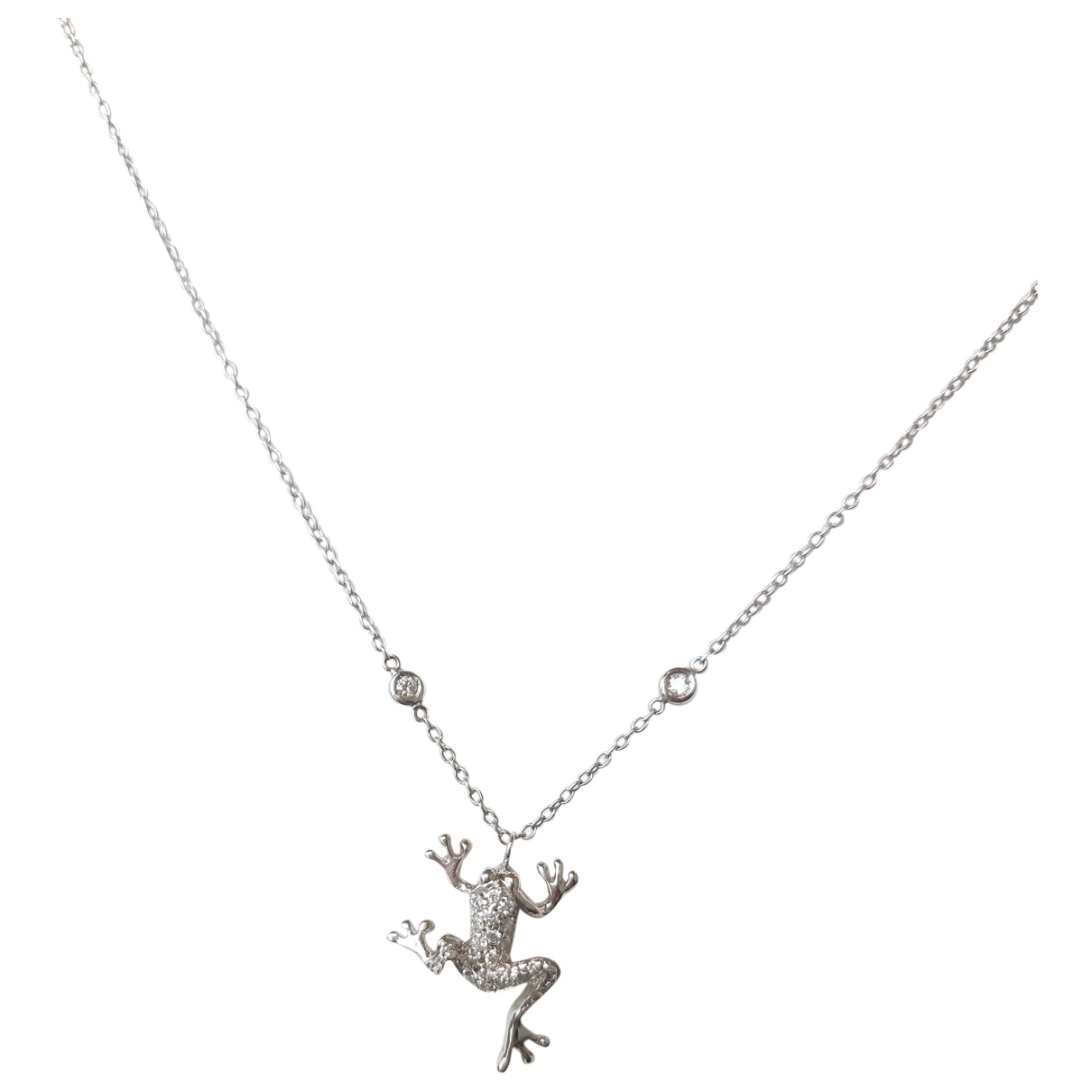 Non Signe / Unsigned Motifs Animaliers Kette in  Weiss Weissgold