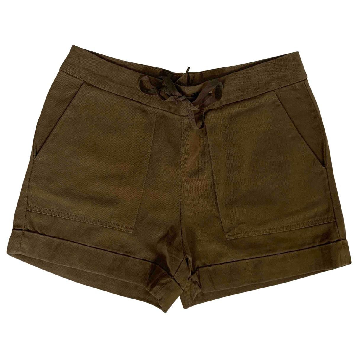 Zara - Short   pour femme en coton - kaki