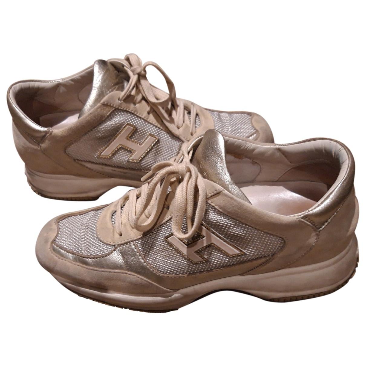 Hogan - Baskets   pour femme en cuir - beige