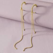 1pair Rhinestone Decor Tassel Drop Earrings