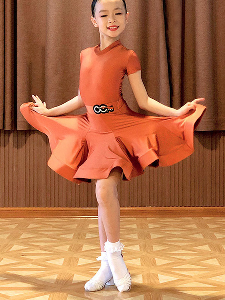 Milanoo Kids Latin Dance Dresses Orange Girl Set Lycra Spandex Dress Dancing Wear