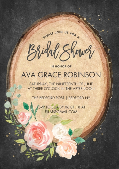 Wedding Shower Invitations Flat Matte Photo Paper Cards with Envelopes, 5x7, Card & Stationery -Bridal Shower Wood Cut