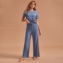 Solid Drawstring Waist PJ Set