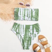 Bandeau Bikini Badeanzug mit Batik und hoher Taille