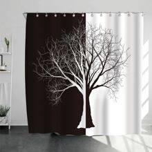 Two Tone Tree Print Shower Curtain