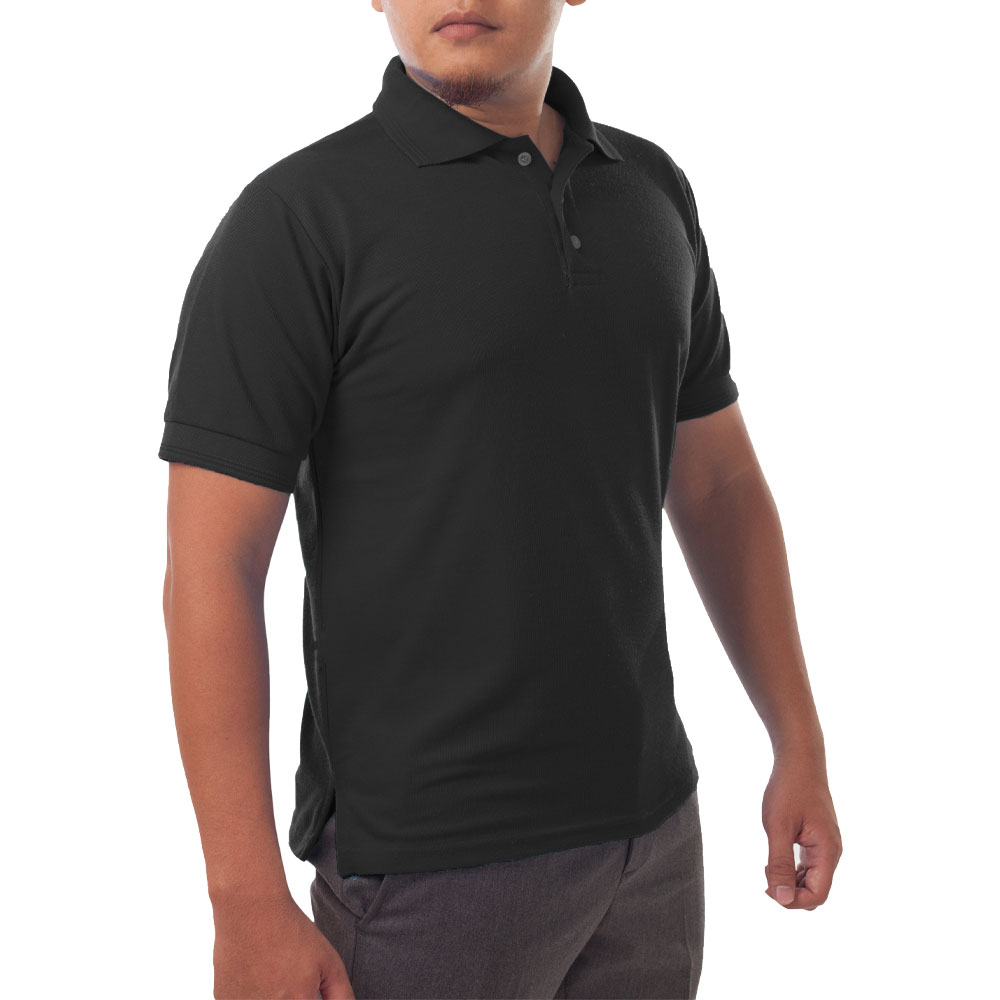 Page & Tuttle Solid Jersey Short Sleeve Polo Golf Shirt Black- Mens- Size M