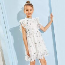 Girls Ruffle Trim Floral Embroidered Mesh Overlay Dress