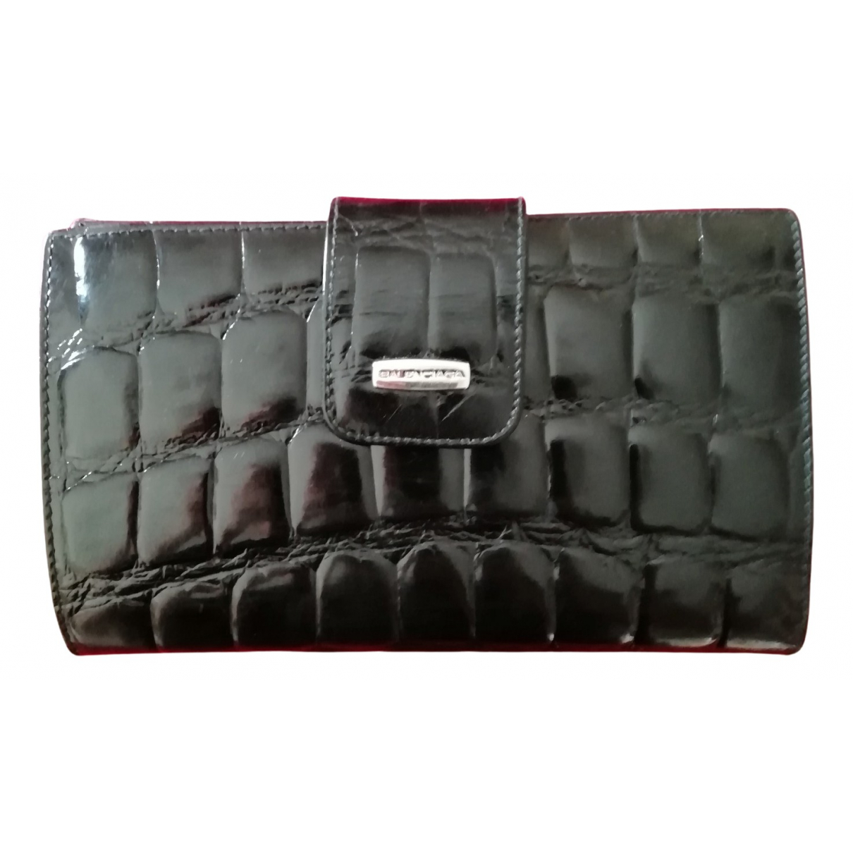 Balenciaga - Portefeuille   pour femme en cuir verni - noir