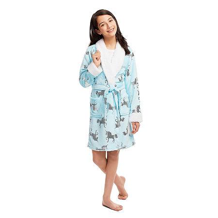 Jellifish Kids Embossed Little Girls Fleece Long Sleeve Mid Length Robe W/Slippers, Small , Blue
