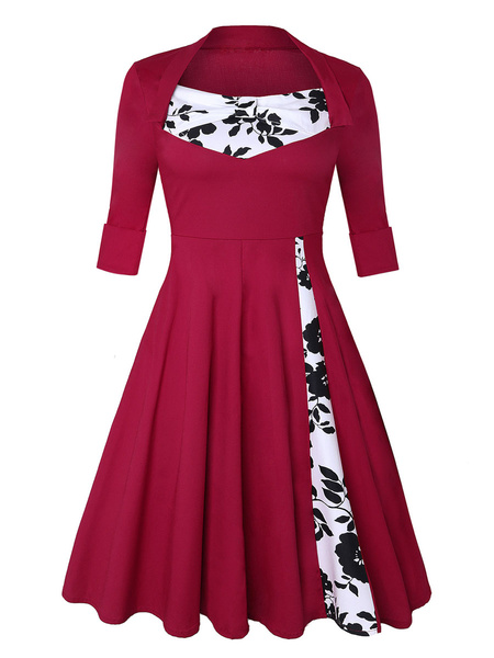 Milanoo Retro Dress 1950s Burgundy Woman Half Sleeves Jewel Neck Rockabilly Dress