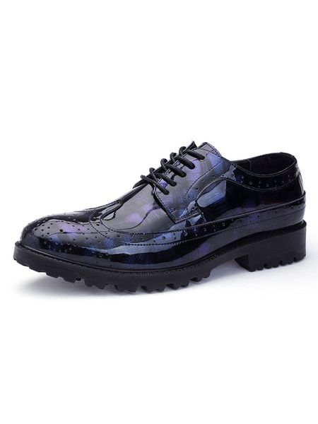 Milanoo Men Dress Shoes Blue Round Toe Lace Up Printed Casual Business Shoes