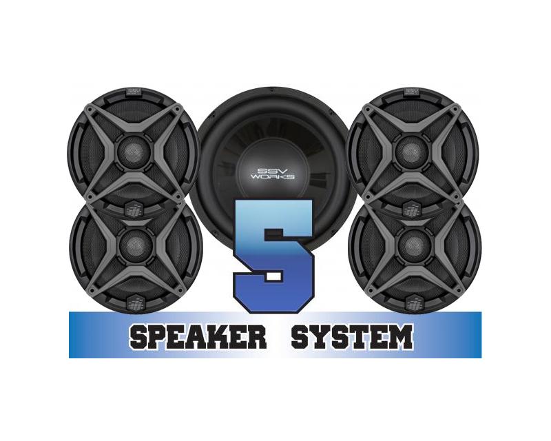 SSV Works RZR-5 Complete 5 Speaker System Polaris RZR 570 | 800 | 900 2014-2018