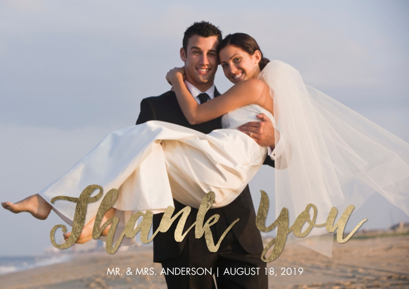 Wedding Thank You Flat Glossy Photo Paper Cards with Envelopes, 5x7, Card & Stationery -Thank You Elegant