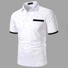 Polo Shirt mit Kontrast am Saum und Muster