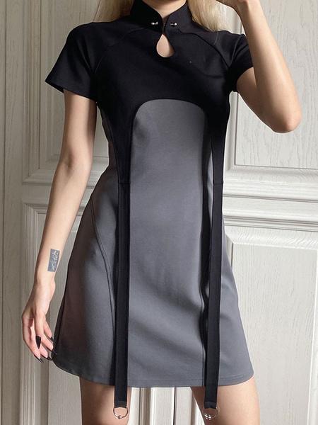 Milanoo Vestido Gotico Lolita Qipao Vestido Lolita Estilo Chino Manga Corta Dos Tonos