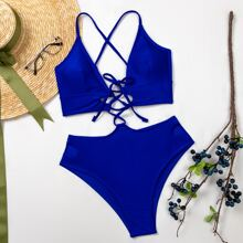 Bikini Badeanzug mit Knoten vorn, Ausschnitt und hoher Taille
