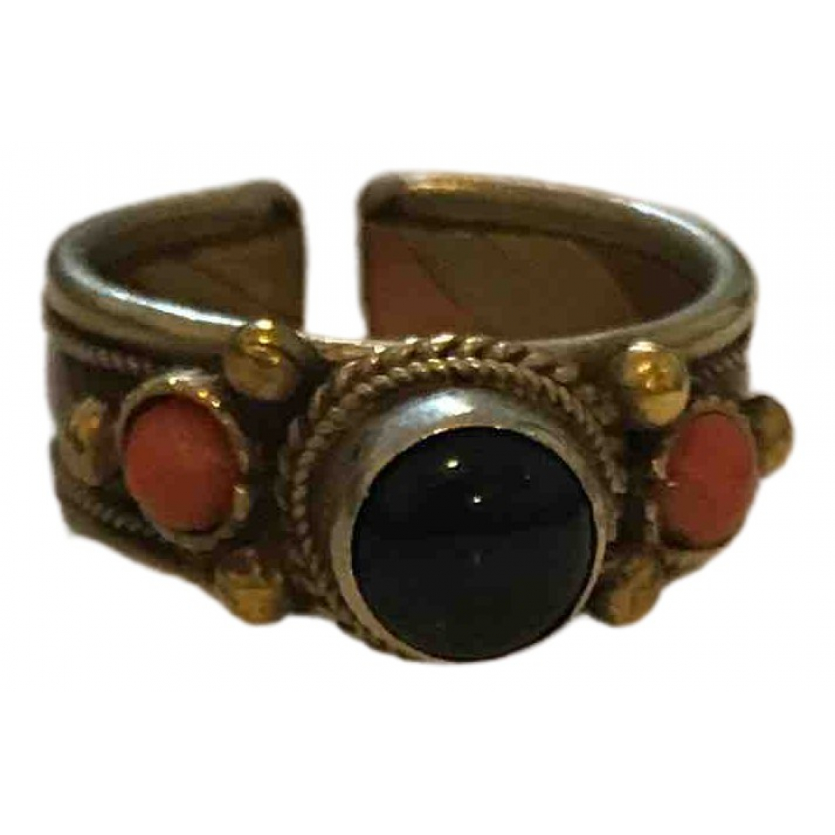 Non Signe / Unsigned Onyx Ring in  Metallic Metall