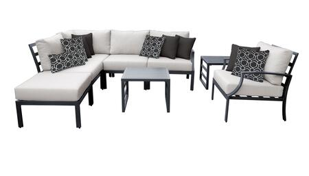 Lexington LEXINGTON-08m-ASH 8-Piece Aluminum Patio Set 08m with 1 Left Arm Facing Chair  1 Corner Chair  2 Armless Chairs  1 Club Chair  1 Ottoman