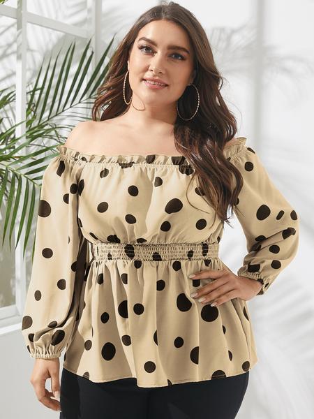 YOINS Plus Size Off The Shoulder Polka Dot Long Sleeves Blouse