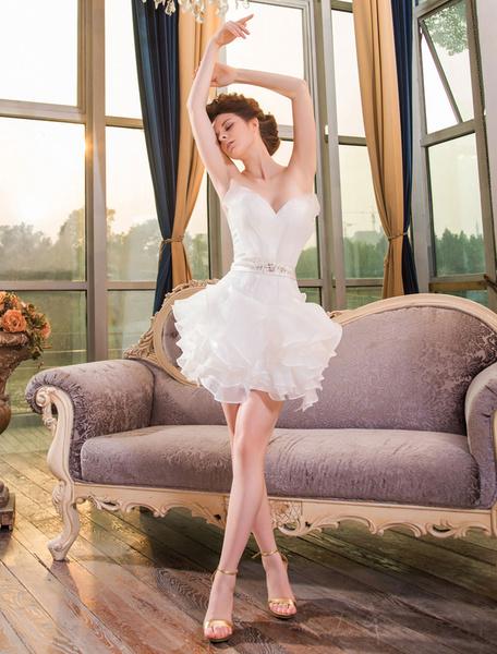 Milanoo Ivory Sheath Sweetheart Neck Ruffles Short Beach Wedding Dress