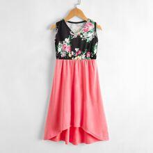 Toddler Girls Floral Print Color Block Dress