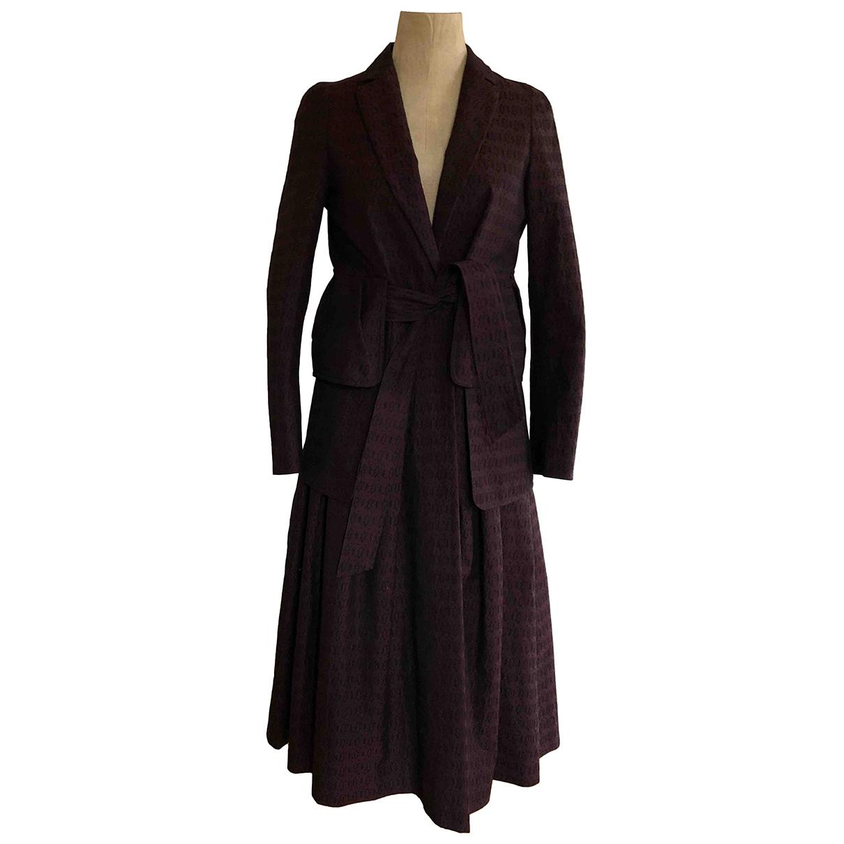 Dries Van Noten - Manteau   pour femme en coton - bordeaux