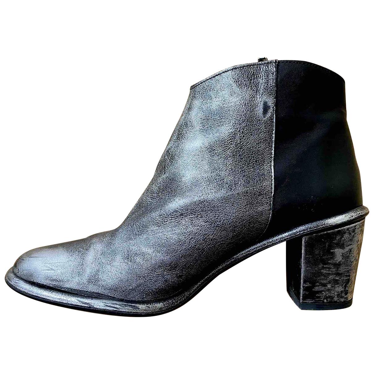 Miista - Boots   pour femme en cuir - argente